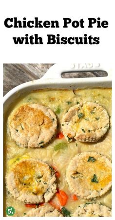 Homemade chicken pot pie with biscuits casserole is one of my favorite comfort foods, especially on a chilly day. The homemade biscuits are amazing. Homemade Chicken Pot Pie, Homemade Biscuits, Easy Family Meals, Frugal Meals, Onion Recipes, Chicken Recipes, Bread Recipes, Lunch Recipes, Dinner Recipes