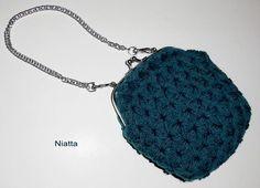 #crochet #purse with #petrol acrylic yarn, silver frame and chain. http://en.dawanda.com/product/76886975-High-quality-silver-frame-clutch-with-chain https://www.etsy.com/listing/260544273/green-clutch-with-chain-high-quality