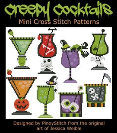 Halloween gruselige Cocktails Collection Mini Cross von PinoyStitch