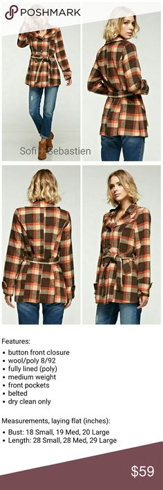 Pumpkin pie plaid belted peacoat orange brown Sorry, NO TRADES  Price firm unless bundled   Save money and bundle! Save 10 percent on any bundle of 2 or more items! Sofi + Sebastien  Jackets & Coats Pea Coats