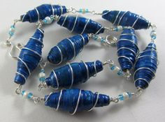 Paper Bead Necklace in Blue Wire Wrapped With by UniqueMarieke, $100.00
