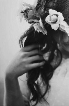 flowers in her hair.
