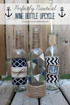 Nautical Wine Bottle Upcycle: Check out these Beautiful and Functional Wine Bottle Crafts. Save those wine bottles for a unique DIY decoration for your home or garden. I'm loving these easy upcycled craft ideas! Nautical Table, Nautical Party, Nautical Wedding, Nautical Craft, Nautical Centerpiece, Navy Party, Nautical Bedroom, Nautical Gifts, Nautical Design