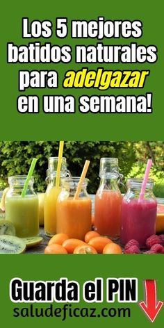 Los 5 mejores batidos naturales para bajar de peso en una semana Try these natural shakes to lose weight in a week. They are the best we have found and the most recommended for an effective diet! Healthy Juices, Healthy Drinks, Healthy Food, Health Drinks Recipes, Healthy Recipes, Nutrition Drinks, Healthier Together, Fat Burning Smoothies, Fruit Smoothies