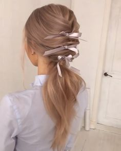 Down Hairstyles, Pretty Hairstyles, Straight Hairstyles, Braided Hairstyles, Hairstyles Videos, Wedding Hairstyles, Hair Ribbons, Hair Creations, Hair Blog