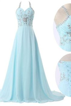 Custom Made Light Blue Chiffon Floor Length Prom Dresses , New Style Prom Dresses , Evening Gown, Prom Gown, Bridesmaid Dresses,Beads Prom Dresses
