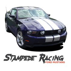 """Ford Mustang STAMPEDE 10"""" Inch Racing Rally Stripes OEM Factory Style Hood Vinyl Graphic Decal Kit 2010 2011 2012 Models"""