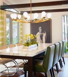 chandelier, marble table and mixed chairs // dining room