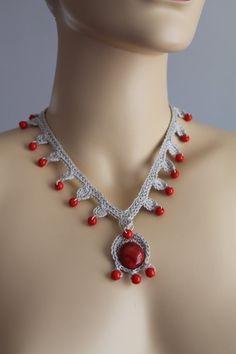 Light Grey  Crochet Necklace with Red Glass and Beads by lucylev, $20.00