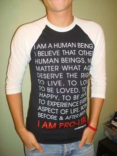 """I Am Pro-Life"" Baseball T #wow"