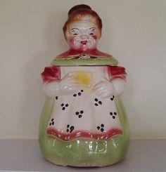 Pink Green Vintage American Bisque Pottery Cookie Jar