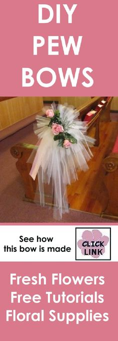 http://www.wedding-flowers-and-reception-ideas.com/tulle-pew-bows.html Learn how to make beautiful tulle pew bows for your DIY wedding decorations.