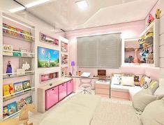 No photo description available. Kids Bedroom Storage, Playroom Storage, Room Ideas Bedroom, Bedroom Decor, Girl Bedroom Designs, Girls Bedroom, Room Divider Bookcase, Pink Bedrooms, Cute Room Decor