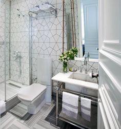Karakoy Hotel bathroom in Turkey tiles geometric pattern arabesque