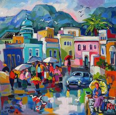 """""""Chiappini Street in Bo Kaap, Cape Town in the Rain"""" by Isabel le Roux (Undated) Boat Painting, Artist Painting, Painting Gallery, Art Gallery, African Paintings, Flower Collage, Cottage Art, South African Artists, Africa Art"""