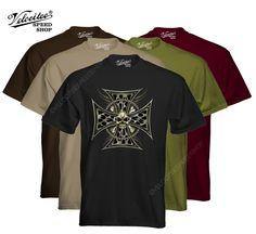 Velocitee Mens T-Shirt Brass Iron Biker Cross Motorcycle Harley Skull W11675 #VelociteeSpeedShop