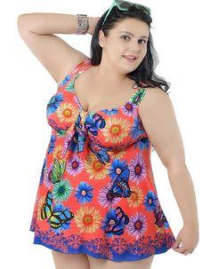 Women's Plus Printed Swimsuit Swimdress Beachwear with Skirt http://amzn.to/1UktBkR