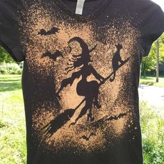 Halloween Witch T shirt, Kid size Medium Bleach Dyed Witch T shirt, Witch flies over the Moon with Cat on her Broom Black Tie Dye Bleach Dye Shirts, Tie Dye Shirts, Funky Tattoos, Moon Shadow, Black Tie Dye, Over The Moon, Clothes Crafts, Daughter Love, Tye Dye