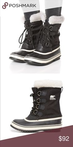 Sorel Winter Carnival Boots ❄️👢 Features archetypal Sorel look in a versatile waterproof boot. Winter Carnival is up for anything, be it a cold nights' romp with the dog or a drink after a vigorous day on the slopes. Seam-sealed waterproof construction UPPER: Waterproof nylon upper INSULATION: Removable 6mm washable, recycled felt InnerBoot with Sherpa Pile™ snow cuff OUTSOLE: Handcrafted waterproof vulcanized rubber shell with herringbone outsole SOREL rated to: -25° F / -32° C Shaft…
