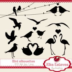"""Bird silhouettes - Digital Clipart    10 High Resolution 300dpi images  JPEG's and Transparent background PNG's  Each digital clipart image size is approx: 6""""  Re-sizeable    You can use them for: embroidery, scrabooking, card design, invitations, stickers, jewelry, paper crafts, web design, and a lot more."""
