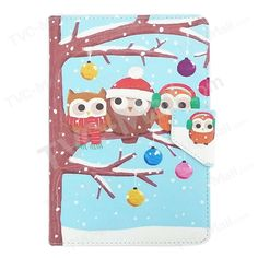 Winter Owls on the Branch Universal Leather Cover for Amazon Fire HD 7 / ASUS Google Nexus 7, Size: 20 x 13cm