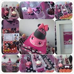 Dessert table / sweet table  Minnie mouse cupcakes, cakes,