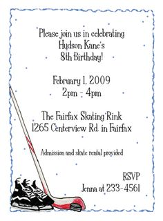 Ice Hockey Invitations-  This simple blue bordered party invitation features ice hockey skates, a hockey stick and puck.
