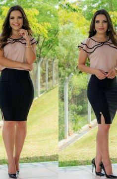 Resultado de imagem para floratta modas Business Outfits, Office Outfits, Western Outfits, Work Attire, Work Fashion, Corsage, Skirt Outfits, Blouse Designs, Casual Looks