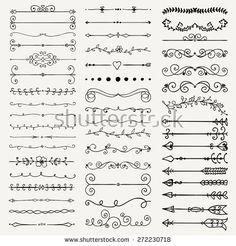 Set of Hand Drawn Black Doodle Design Elements. Decorative Floral Dividers, Arrows, Swirls, Scrolls. Vintage Vector Illustration.