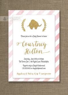 Pink & Gold Baby Shower Invitation Elephant by digibuddhaPaperie, $20.00