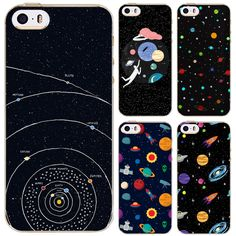 Ultra Thin Soft Silicon Phone Case Cover For Apple iPhone 5c case Universe Airship Moon Night Cute Cat Girl Capa Celular