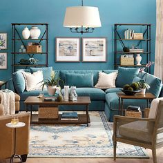 Shop living room furniture to relax in comfort and style. Find living room furniture ideas, living room furniture sets and more at Ballard Designs! Blue Couch Living Room, Living Room Turquoise, Teal Living Rooms, Home Living Room, Living Room Furniture, Living Room Designs, Teal Couch, Turquoise Sofa, Teal Rooms