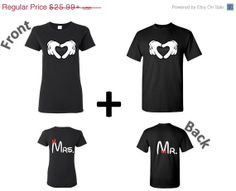 Mr and Mrs - Mr.  Mrs. Disney COUPLE shirt Inspired Tshirt,Hearth VALENTINES DAY. Mickey Minnie, gift for Soulmate,husband wife,girlfriend on Etsy, $22.49