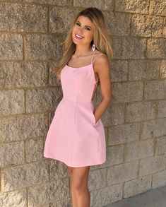 Cute Short Straps Pink Homecoming Dress,Short Prom Dress with Pockets M3446