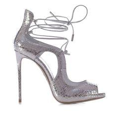 Sandalo in Naja, stampa pitone su vitello argento h.115 mm