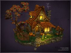 Hand painted - Autumn Cottage - Samuel Slover