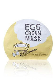 Cream Mask Too Cool for School's other mask, the Egg Cream, features the yolk (the Egg Mousse Mask features egg whites) and comes individually packaged as sheet masks. It hugs your face, depositing nourishing egg-yolk extracts, and is recommended for use following the Egg Mousse Mask, which has more of a tightening, astringent effect. The Egg Cream Mask is next-level, as far as ...