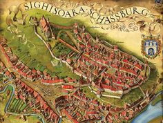 Old map of Sighisoara Citadel, Romania