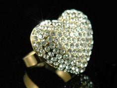 Gold Sparkling 3D Heart Austrian Crystal Ring