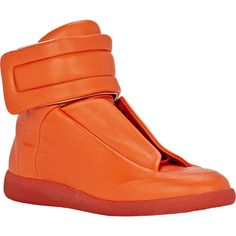 "Maison Margiela ""Future"" Ankle-Strap Sneakers ($529) ❤ liked on Polyvore featuring men's fashion, men's shoes, men's sneakers, mens lace up shoes, mens high top sneakers, maison margiela mens shoes and mens high top shoes"