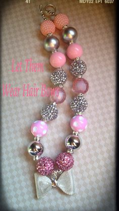 Light Pink and Silver with Silver Metal Mesh Design Bow Chunky Bead Necklace for Little Girls, Kids Jewelry Trendy Toddler Rhinestone Accent on Etsy, $13.49