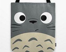 Totoro Kawaii mi vecino 13 x 13 gráfico del arte pop imprimir bolsa gris Anime Manga Troll Hayao Miyazaki Studio Ghibli 16 x 16 x 18 18 regalo ella ÉL