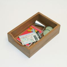 Bamboo Organzation Box - use cup hooks to hang rings and brooches?