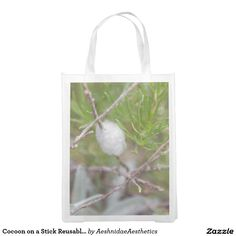 Cocoon on a Stick Reusable Bag Reusable Grocery Bag Create Yourself, Create Your Own, Butterfly Bags, Reusable Grocery Bags