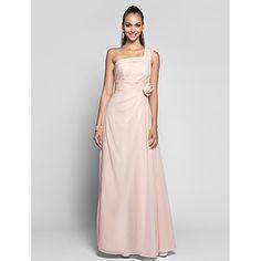 vaina / columna de un hombro vestido de gasa palabra de longitud noche / prom – USD $ 99.99