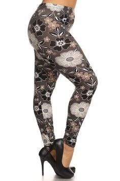 878084dc681 Grey Floral Plus Floral Leggings, Capri Leggings, Dolman Top, Cute Flats,  Tunics