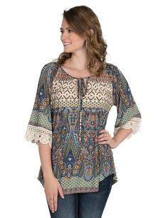 R. Rouge Women's Multi Colored Paisley Print with Crochet Detail on 3/4 Sleeves Fashion Top | Cavender's