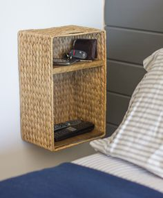 Jenna Sue: Master Makeover: Bedside Baskets & Accordion Lamps