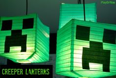 Minecraft Creeper Lanterns for a birthday party. Minecraft Activities, Minecraft Games, How To Play Minecraft, Minecraft Crafts, Minecraft Skins, Minecraft Classroom, Creeper Minecraft, Minecraft Stuff, Tablescapes