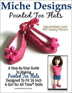Miche Designs Pointed Toe Flats Doll Clothes Pattern 16 inch A Girl For All Time Dolls | Pixie Faire